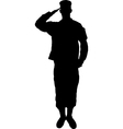 Saluting army soldier silhouette on white vector image