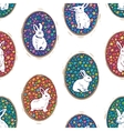 Seamless pattern with floral easter eggs and bunny vector image vector image
