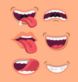 cute man and woman mouth set vector image