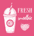 Fresh raspberry smoothie vector image