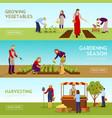 gardening season horizontal banners set vector image