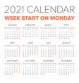 simple 2021 year calendar vector image