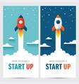 two vertical web banners with rocket vector image