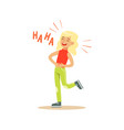blonde girl laughing out loud and holding her vector image