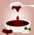 cherry jam and spoon vector image vector image