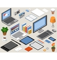 Flat isometric workspace laptop tablet vector image vector image