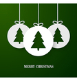 Christmas paper card with hanging toy vector image