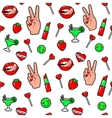 fashion fun patch stickers vector image