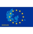 Flag of European Union with Denmark on background vector image