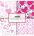 set of patterns with colorful hearts doodle vector image