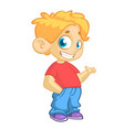 cartoon little boy waving vector image