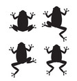set of frog silhouettes on white background vector image