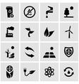 black eco icon set vector image