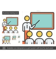 Business training line icon vector image