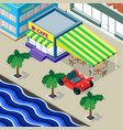cafe palm trees car and urban landscape on the vector image
