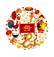 Chinese New Year festive symbols round poster vector image