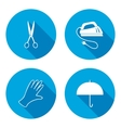 Household tool equipment sign set Iron kettle vector image
