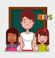 little kids group with teacher in classroom vector image