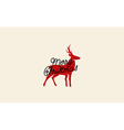 Merry Christmas Card with Deer Drawing vector image