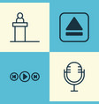multimedia icons set collection of audio buttons vector image