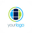 round globe geometry logo vector image