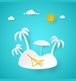 Summer vacation tropical island with palm tree vector image