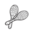 Pair of traditional Mexican brightly maracas or vector image vector image