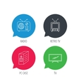 Retro TV radio and PC case icons vector image