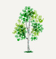 green hand print tree symbol for environment care vector image vector image