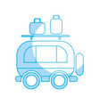 silhouette van transportation with bags to travel vector image