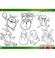 easter cartoons for coloring book vector image vector image