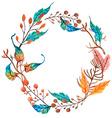 Watercolor flower wreath background vector image vector image
