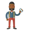 Black office worker holding his smartphone vector image