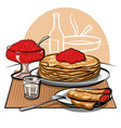 Crepes with Raspberries for Breakfast vector image vector image