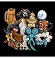 Set of pirate accessories tools and toys vector image