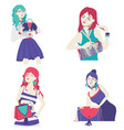 fashion collection with bright flat girls vector image