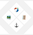 flat icon beach set of ship hook sphere vector image