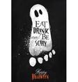 Ghosts halloween poster chalk vector image
