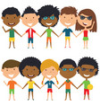 multiracial people standing and holding hands vector image