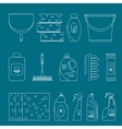 Outline cleaning products and equipment background vector image