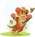 tiger and butterfly vector image