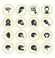 Set round icons of helmets and masks vector image