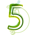Green number 5 vector image vector image