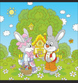 bunnies on easter sunday vector image