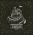 Emblem castle on a mountain vector image