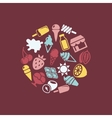 ice cream icons in circle vector image vector image