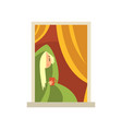 blond girl sitting near window young woman vector image