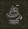 Emblem castle on a mountain vector image