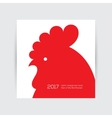 New Year 2017 card with red rooster silhouette vector image vector image