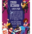 Rock fest banner with musicians vector image